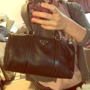 Prada Lambskin Leather Black Push Lock Bowler Bag